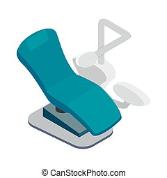 Blue dentist chair icon, isometric 3d style