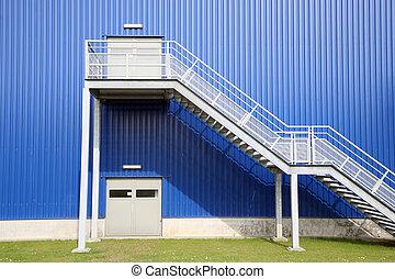Depot factory - Blue Depot factory with green grass