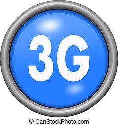 Blue design 3G in round 3D button