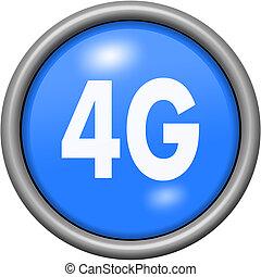 Blue design 4G in round 3D button