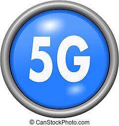 Blue design 5G in round 3D button