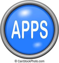 Blue design apps in round 3D button