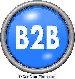 Blue design B2B in round 3D button