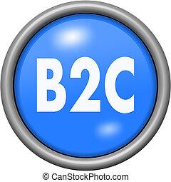 Blue design B2C in round 3D button