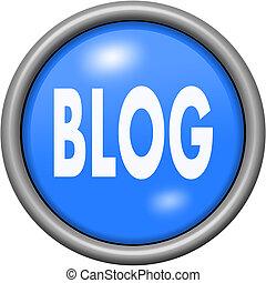 Blue design blog in round 3D button