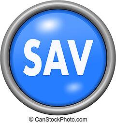 Blue design customer service in round 3D button