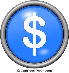 Blue design dollars in round 3D button