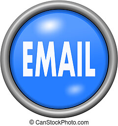 Blue design email in round 3D button