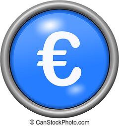 Blue design euros in round 3D button
