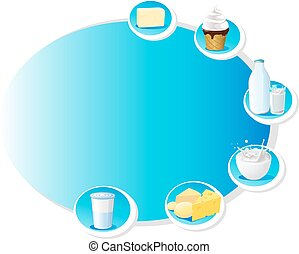 blue design frame with dairy produc