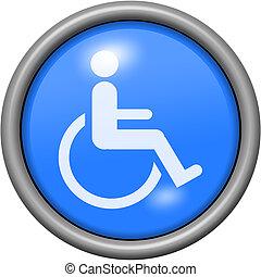 Blue design handicap in round 3D button