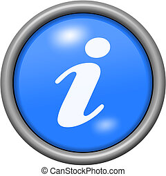 Blue design information in round 3D button