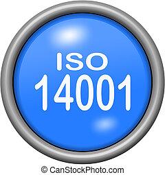 Blue design ISO 14001 in round 3D button