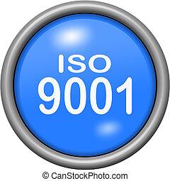 Blue design ISO 9001 in round 3D button