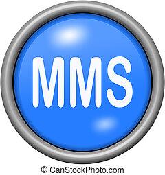 Blue design MMS in round 3D button