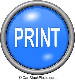 Blue design print in round 3D button