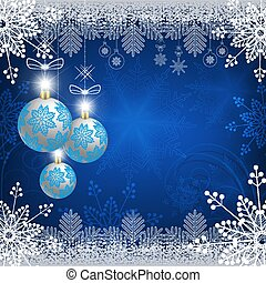 blue design with christmas balls