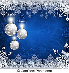 blue design with snowflakes and white christmas balls