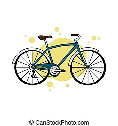 Blue detailed city bicycle isolated on yellow abstract background