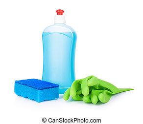blue detergent, sponge blue and light green gloves
