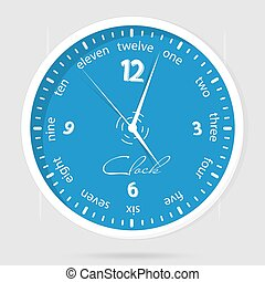Blue dial plate. Wall clocks face on white background.