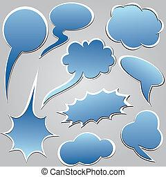 Blue dialog clouds.