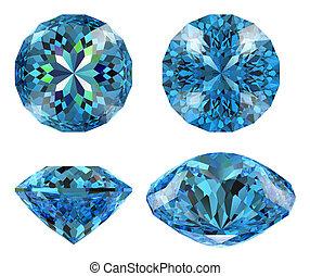 Blue diamond 16 star cut isolated