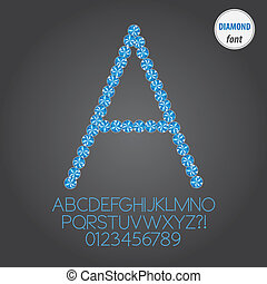 Blue Diamond Alphabet and Digit Vector