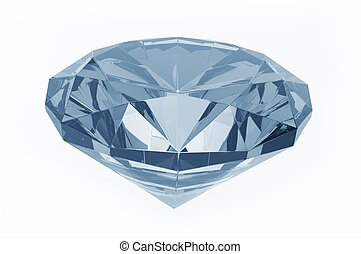 Blue Diamond - Crystal Clear Diamond (Blue Tones) Isolated...