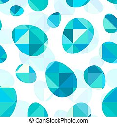 Blue diamond eggs vector seamless pattern