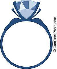 Blue Diamond engagement ring vector icon