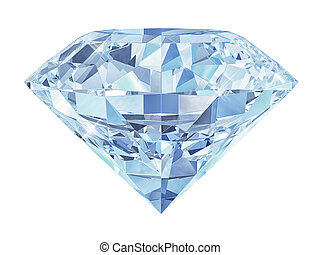 Blue diamond isolated on white background 3d