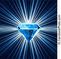 Blue diamond on bright background. Vector illustration