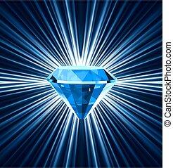 Blue diamond on bright background. Vector illustration
