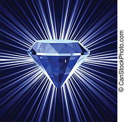 Blue diamond on bright background. Vector