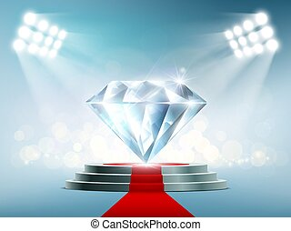 Blue diamond on the podium with a red carpet