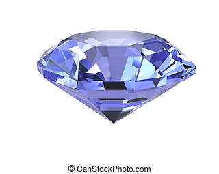 Blue diamond on white background