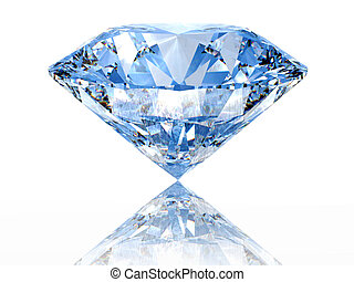 Blue diamond on  white background  with reflection