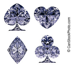 Blue Diamond shaped Card Suits