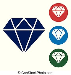 Blue Diamond sign isolated on white background. Jewelry symbol. Gem stone. Set color icon in circle buttons. Vector Illustration
