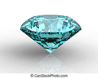 Blue Diamond with reflection - Blue diamond on white...