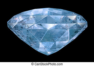 Blue diamond with soft edges. 3D