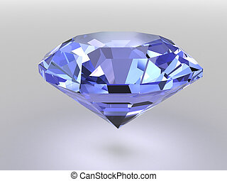 Blue diamond with soft shadows