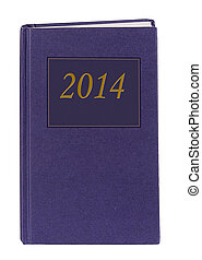Blue diary or journal 2014 - two thousand and fourteen, isolated