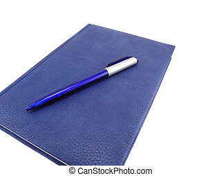 Blue diary with pen