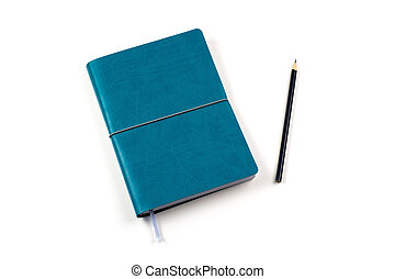 blue diary with pencil