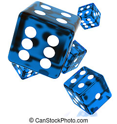 Blue Dice - 3D Blue rolling dice on white background