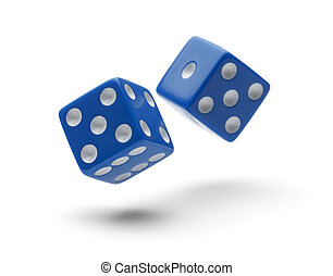 Blue Dice - Two Dice Rolling through the Air Isolated on...