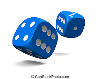 blue dice, thrown on a white background