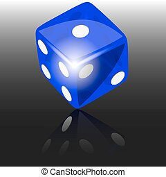 Blue dice with reflect on dark background illustration...
